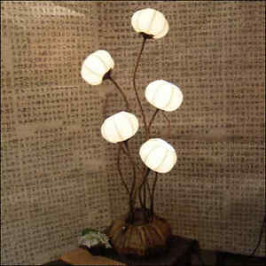 White Paper Ball Art Deco Shade Lantern Asian Table Floor Brown Touch Lamp Light