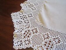 Beige Linen Table cloth with wide Crocheted trim partially embroidered