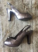 PHASE EIGHT Metallic Grey/Silver Slingback Peep Toe Shoe Heels ~Size 5~Occasion