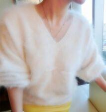 ❄️ Weiß 100 % ANGORA PULLOVER WOLLE PURE WOOL JUMPER SWEATER MINK CASHMERE XL