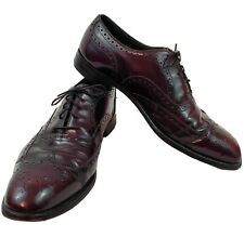 Johnston Murphy Heritage Mens Sz 11 Patent Leather Wingtip Oxford Shoes Burgundy
