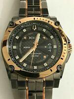Bulova Men's Precisionist Diamond Grey & Rose Gold Chronograph Watch 98D149
