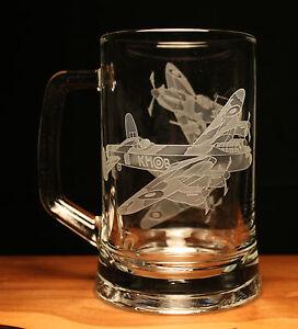 Spitfire Hurricane Lancaster WW2 Aircraft engraved glass tankard gift present
