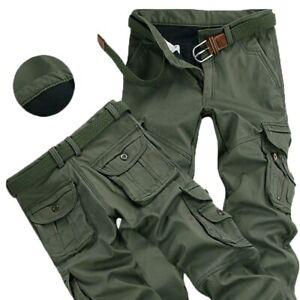 Mens Pants Thick Warm Cargo Pants Casual Fleece Pockets Fur Trouser Plus Size