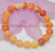 Agate Round Beads Elastic Bracelets 7.5'' 10mm Orange Dream Fire Dragon Veins