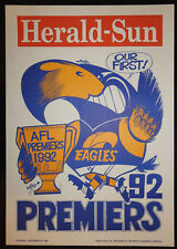 1992 original West Coast Eagles Herald Weg Premiers poster