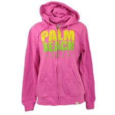 Palm Beach Florida Pink Zip Up Fleece Sweater Hoodie Womens Ladies Serra City