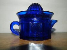 Cobalt Blue Retro 50's Style 1/2 Cup 2pc Juice Reamer Set Panel Pattern Cup New