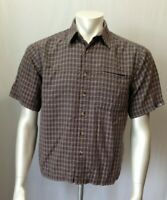 The North Face Mens Short Sleeve Button Front Brown Plaid Zip pocket Shirt Sz S
