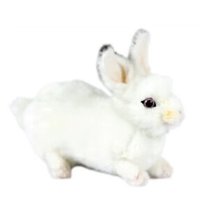 HANSA WHITE BUNNY RABBIT REALISTIC CUTE SOFT ANIMAL PLUSH TOY 20cm **NEW**