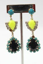 H&M Blue Fluorescent Neon Yellow Tiered Drop Statement Earrings