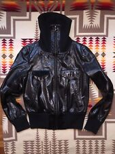 Club Monaco Genuine Leather Moto Biker Bomber Jacket Black Small S