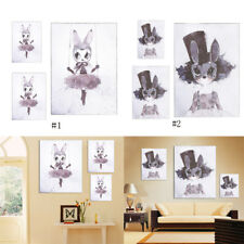 Cartoon Canvas Art Prints Poster Rabbit Picture Nursery Children Room Decor HG