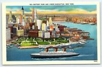 Battery Park and Lower Manhattan, New York vintage postcard NY City back caption