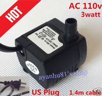 Water Pump 12V/110V QUIET for Fountain Fish Aquarium AC 200L/H small Submersible