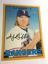 2016 Topps Heritage High Number 5x7 A.J. Griffin Rangers 565 #'d 01/10 Gold