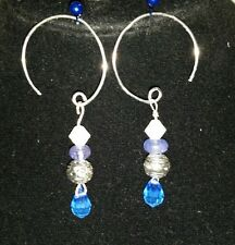 New hand made Tanzanite hoops with 925 Sterling silver earrings