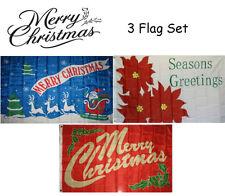3x5 Merry Christmas 3 Flag Wholesale Set #6 3'x5' House Banner Grommets