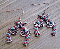 Rhinestone Earrings Double Pistol Dangle Cowgirl Fashion Jewelry Turquoise & Red