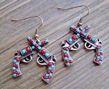 Rhinestone Earrings Double Pistol Dangle Cowgirl Fashion Jewelry Turquoise & Red