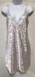 Vintage Val Mode Lingerie Nightgown Large Pink Satin Chemise Lace Trim Short
