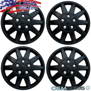 "4 New Matte Black 15"" Hubcaps Fits Saturn Suv Car Steel Wheel Covers Set Hubcap"
