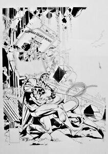 "SUPERMAN BATTLES WONDER WOMAN Production Art, 17"" x 11"""