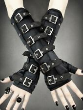Restyle Black Cotton Buckle Arm warmers Gloves Gauntlets Gothic Wicca Pagan