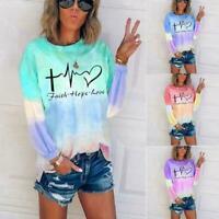 Women Tie Dye Gradient Printed T-shirt Crew Neck Top Blouse Pullover S3Y0