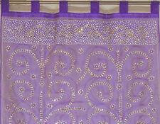 Purple Curtain Panel - Zardozi Embroidered Beaded India Window Treatments 92""