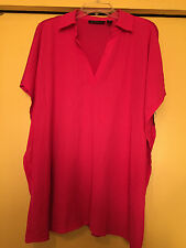NEW INC Woman Fuchsia Chiffon Front, Jersey Back, V Neck, Size 0X plus, NWT