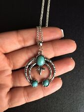 Necklace Silver Turquoise Hippie Bohemian Ethnic Boho Tribal Gift Her N1098