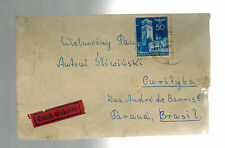 1941 GG General Government Germany Poland Censored Cover to Brazil