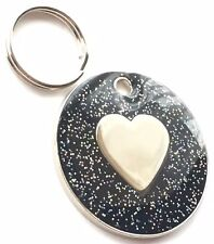 INCISIONE PERSONALIZZATA nero glitter cuore - Cane / GATTO MEDAGLIETTA ID 26mm