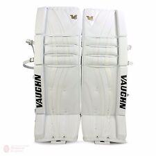 """New Vaughn 1000i V6 Int ice hockey goal leg pads 28""""+2 All White Velocity goalie"""