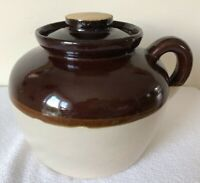 VINTAGE Crock Bean Pot with handle lid   Brown Tan Stoneware USA MADE Estate