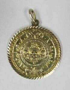 Nice Aztec Calendar 14K Gold Circle Pendant 4.9 grams