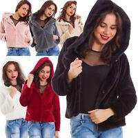 Giacca donna ecopelliccia cappuccio inverno giubbino caldo nuovo WD-60688