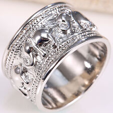 Animal Jewelry Women Man 925 Silver Care Elephant Printing Silver Ring Size 6-10