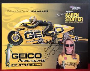 2010 Karen Stoffer Geico Suzuki Pro Stock Motorcycle NHRA AUTOGRAPHED Postcard