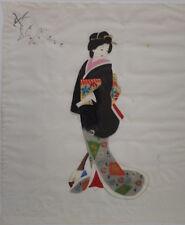 Sehr alte farbenprächtige Original-Malerei auf Stoff Seide? Geisha Nr.6 signiert