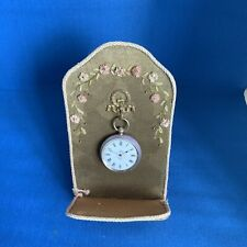 Antique French Embroidered Pocket Watch Stand