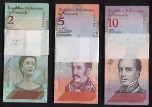 3 Originalbündel: ORIGINAL BUNDLEs VENEZUELA, 2 + 5 + 10 Bolivares Soberano 2018