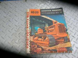 1955 ALLIS-CHALMERS HD-20H HD20 Crawler Tractor Shop Service Manual Tractors