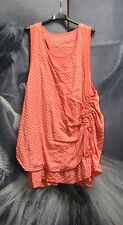 Quirky Lagenlook Italian Boho Bubble Spotted Linen Top Dress Tunic Size 10 12