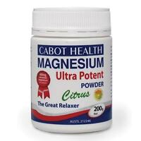 New Cabot Health Magnesium Ultra Potent Powder Citrus 200g Relaxer of Cramps