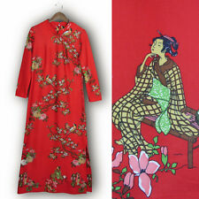 Vtg 70s Red CHINESE GODDESS DRESS Tang Dynasty Lady Bird Print Asian Costume M