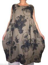 Ärmellose wadenlange Damenkleider aus Leinen