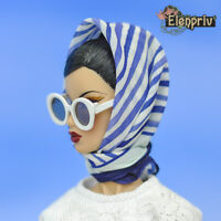 ELENPRIV blue & white stripes printed silk headscarf #2 Fashion Royalty FR2 doll