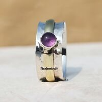 Amethyst 925 Sterling Silver Spinner Ring Meditation Statement Jewelry A35